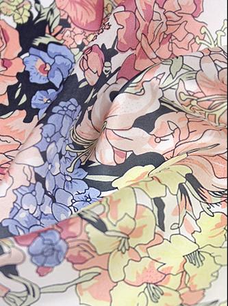 上海活性数码印花厂真丝电力纺数码印花白坯印花面料