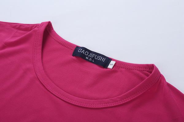 要买舒身的syl-008新款广告衫T恤玫红色修身款上哪 莞城工作服