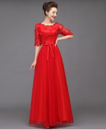 晚会主持人服装红色中袖蕾丝服装租赁