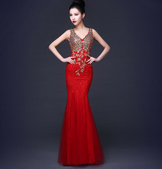 鱼尾修身新娘结婚礼服女长款蕾丝聚会宴会晚礼服红色