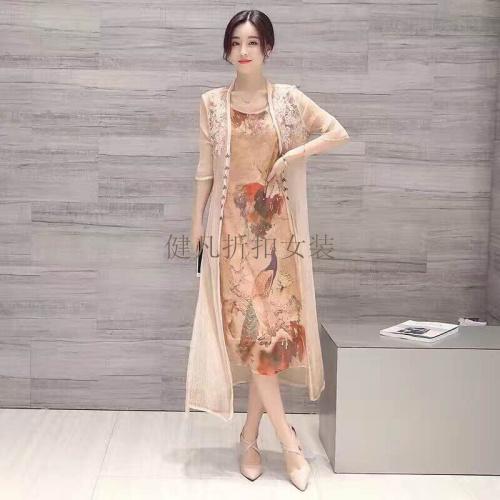 品牌女装真丝连衣裙时尚中国风长裙库存折扣批发